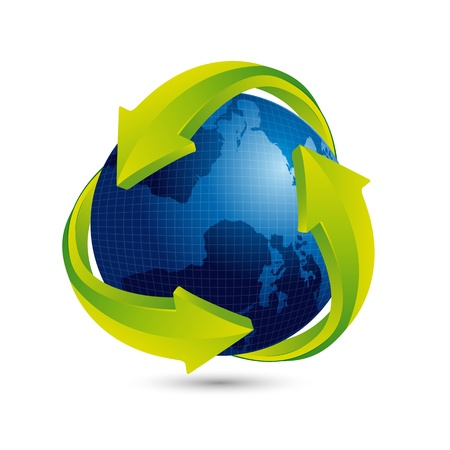 blue earth with green arrow and shadow. Stock Vector - 14039114