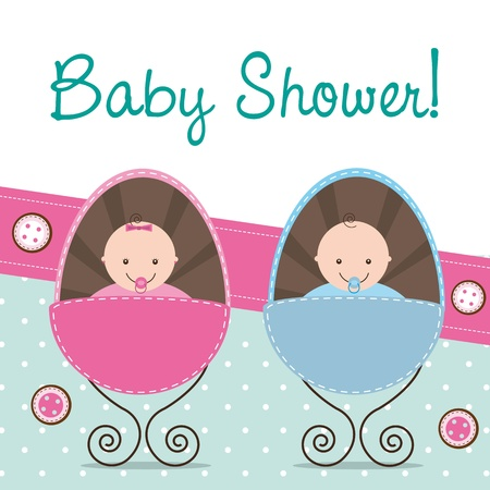 to creep: baby shower card with two babies. Illustration