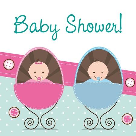 nenes jugando: Tarjeta de Baby Shower con dos beb�s.