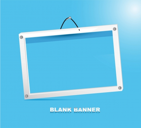 blank banner with white frames over blue background.  Vector