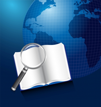 book with magnifying glass over planet.  Vector