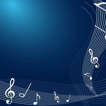 musica di note bianche su sfondo blu.