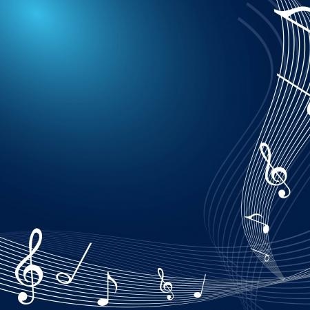 white notes music over blue background.  Vector