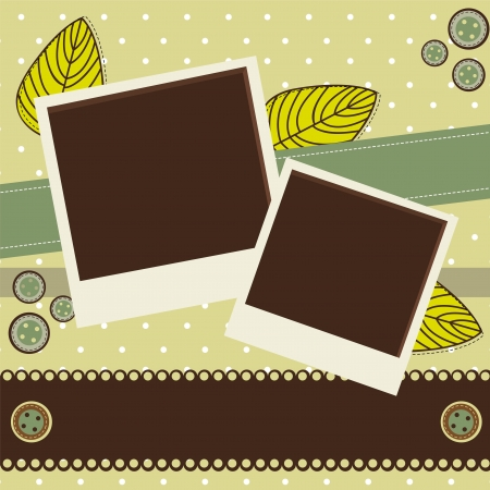 scrapbook with photos and leaves.  Vector