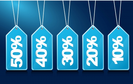 discount coupon: blue tags with numbers over blue background.