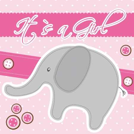 pink baby shower card with elephant.  Vector