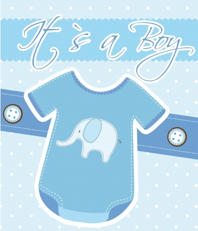 baby shower, cute blue card.  Vector