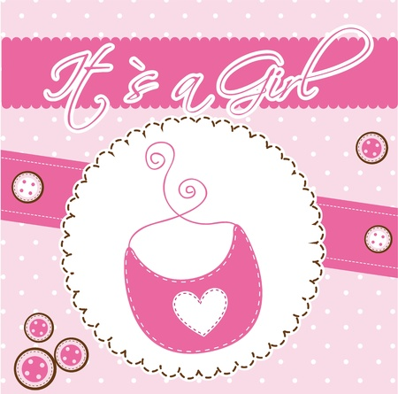 pink cute card with bib, baby shower.  Vector