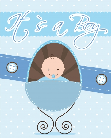 baby shower card with baby.  Vector