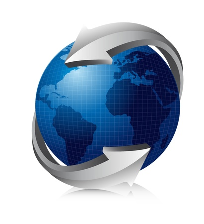 blue earth with silver arrows.  Vector