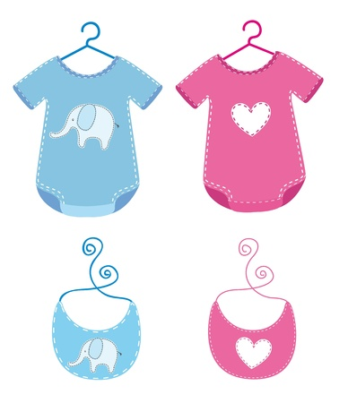 baby clothes with bib isolated over white background. Vektorové ilustrace