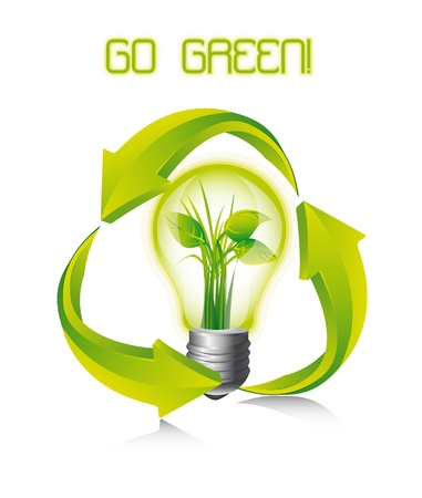 recycle sign with light bulb over white background. Stock Vector - 14039070