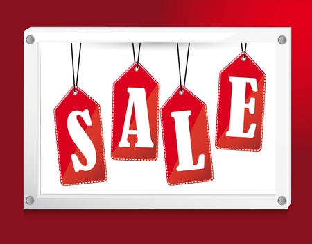 red sale tags over banner.  Vector
