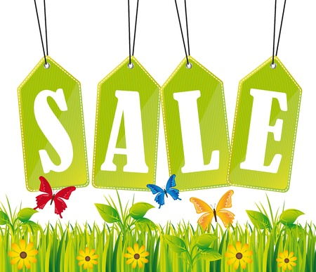 sales representative: green sale tags with grass and butterfly.