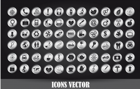 chrome icons over black background. Stock Vector - 14038969