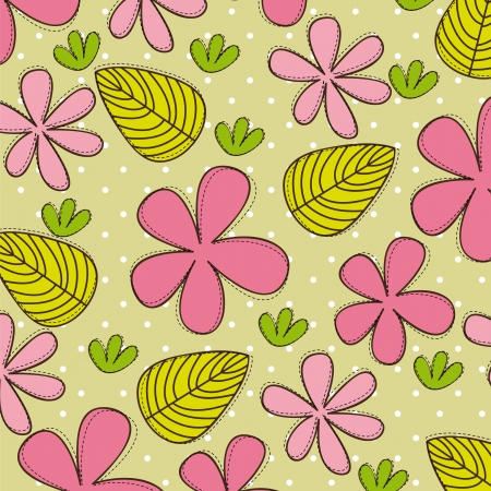 cute flowers and leaves, background.  Vector