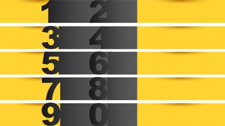 yellow and black numbers templates, background.  Vector