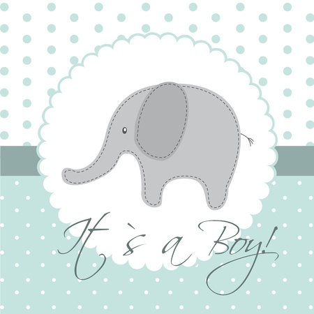 baby shower card with cute elephant. Vector