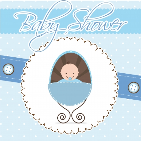 baby shower card, boy baby.  Vector