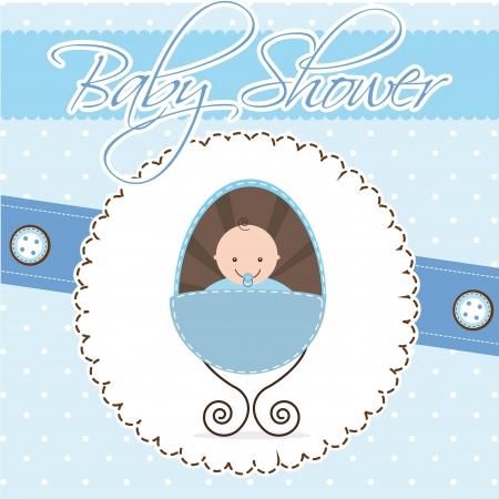 baby shower card, boy baby.  Vector