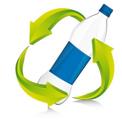 plastic: recycleren ondertekenen met fles plastic. Stock Illustratie