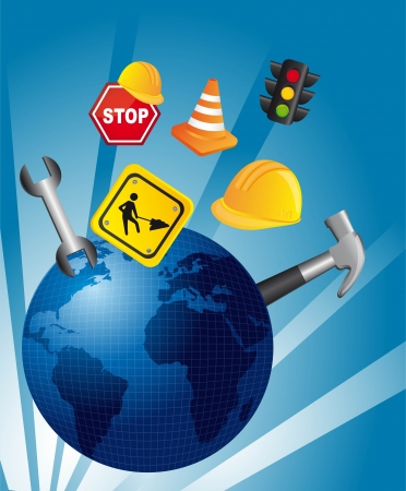 traffic icons over blue planet. Stock Vector - 14038994