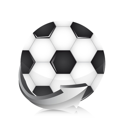 soccer ball with arrow over white background.  Vector
