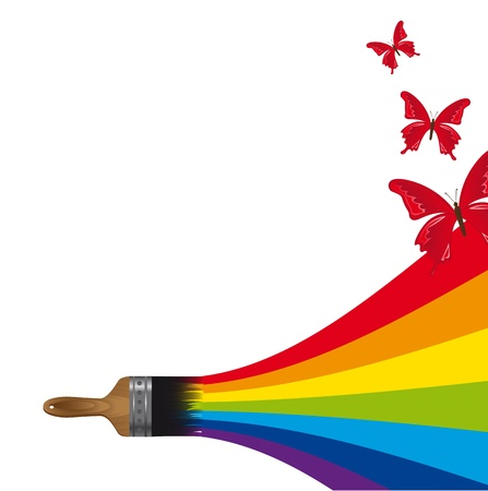 brush painting a rainbow with butterflies. Stock Vector - 14038939