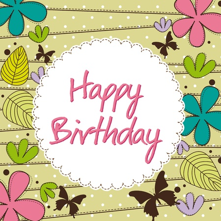 happy people: cute happy birthday card with flower. Illustration
