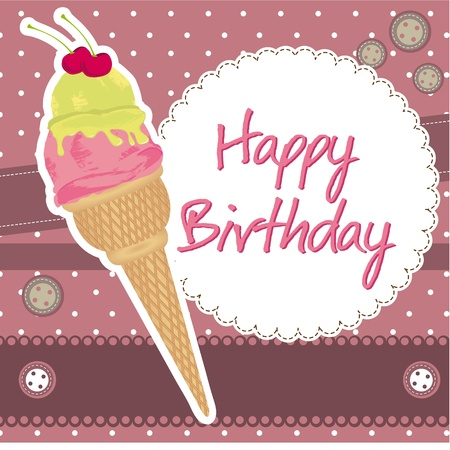 happy birthday with ice cream over scrapbook.  Vector