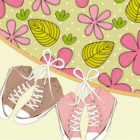 cute sneakers over flowers and leaves.  Illustration