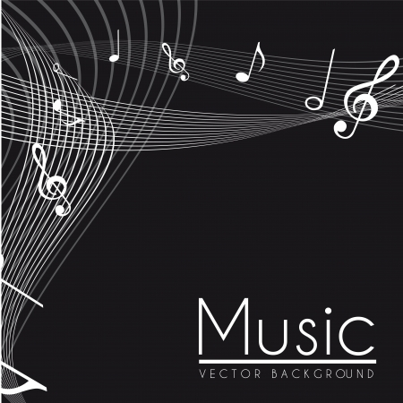 notes musical, black and white.  Vector