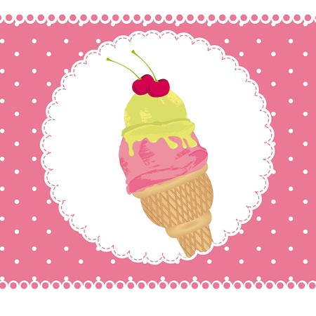 icre cream over scrapbook, pink card.  Vector