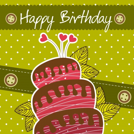 carte d'anniversaire mignonne avec un g�teau sur fond vert.
