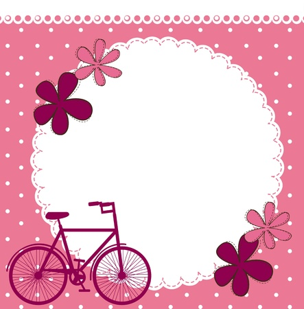 blank pink card with bike and flowers.  Vector
