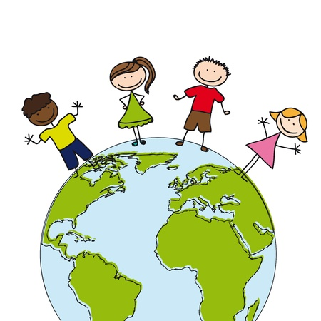 protect globe: children cartoons with planet over white background.  Illustration
