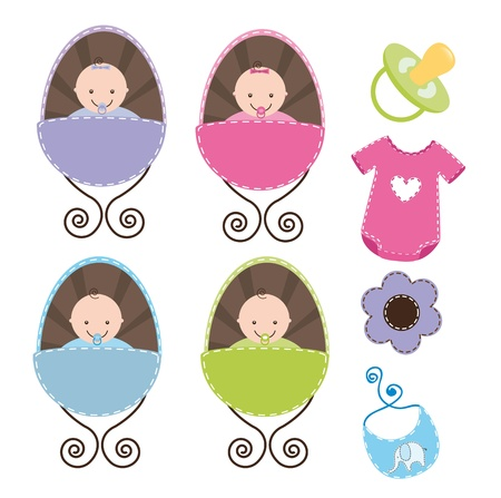 cute babys with baby elements isolated.  Vector