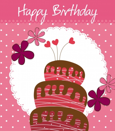 birthday card with cake and flowers.  Vector