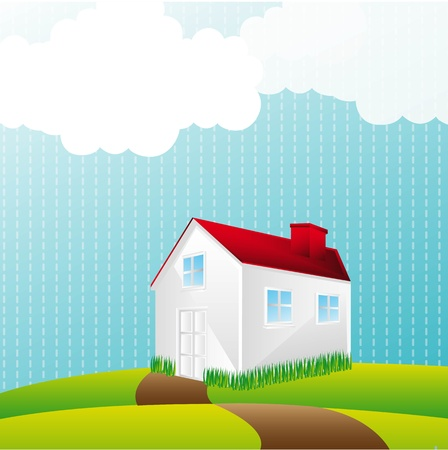 house over landscape with clouds.  Vector