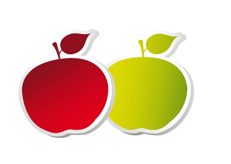 red and green apple with edge over white background. Stock Vector - 14038862