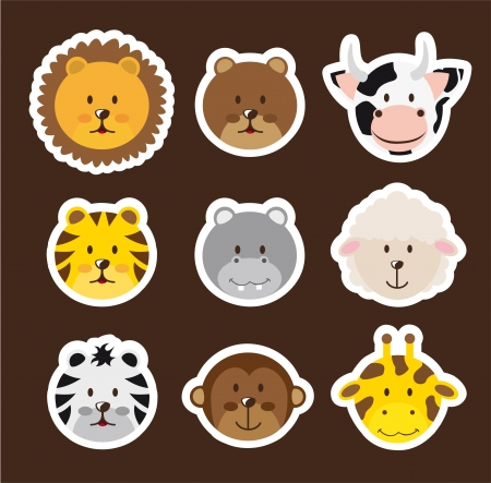 cute faces animals over brown background.  Vector