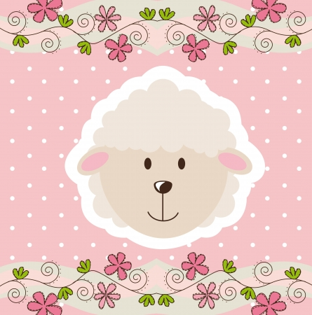 cute face sheep over pink background. Vector
