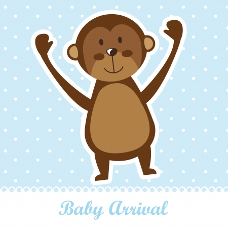 baby arrival with cute monkey over blue background.  Vector