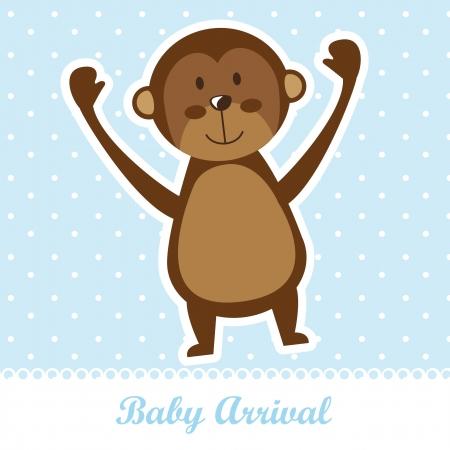b�b� singe: l'arriv�e de b�b� avec le singe mignon sur fond bleu.