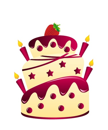 strawberry cake with candle over white background.  Vector