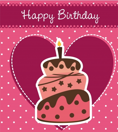 birthday card with cute cake over pink background.  Vector