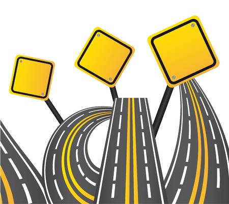 yellow and gray road sign over white background.