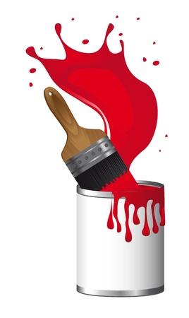 なでる: 白い背景の上のペイントの瓶と赤いブラシ ペイント。