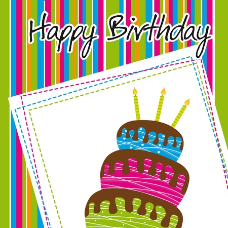 colorful birthday card with cake Stock Vector - 14038961