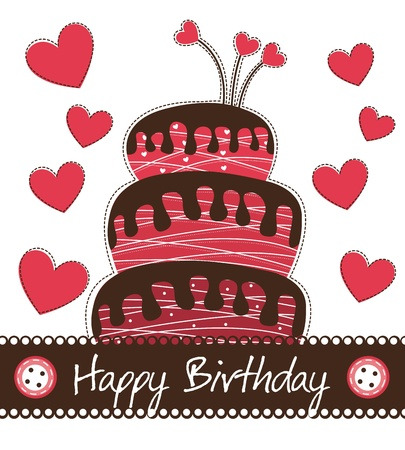 cute cake with hearts over white background, birthday. Vector